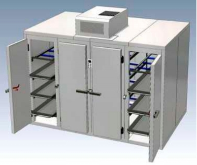 Mortuary stretcher refrigerated mortuary cabinet / front-loading / multiple-body