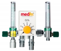 Respiratory gas blender / air / oxygen / with dual flow meter tubes