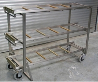 3-shelf shelving unit / stainless steel / mobile / mortuary storage