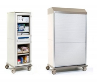 Supply cabinet / linen / with tambour door / 1-door